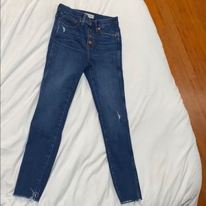 Madewell 10-in high rise button front skinny jeans